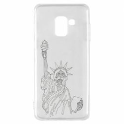 Чохол для Samsung A8 2018 Statue of Liberty with a medical mask