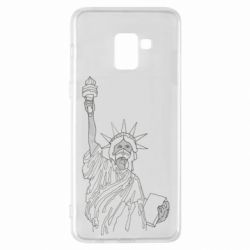 Чохол для Samsung A8+ 2018 Statue of Liberty with a medical mask