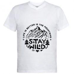Купить Мужская футболка с V-образным вырезом Stay Wild, FatLine