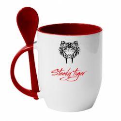 Кружка з керамічною ложкою Steady tiger