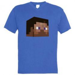 Мужская футболка  с V-образным вырезом Steve Minecraft - FatLine