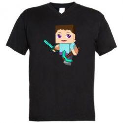 Мужская футболка  с V-образным вырезом Steve minecraft