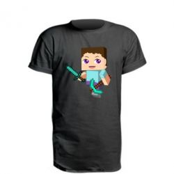 Удлиненная футболка Steve minecraft