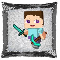 Подушка-хамелеон Steve minecraft