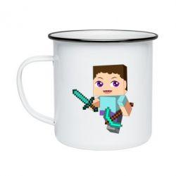 Кружка эмалированная Steve minecraft