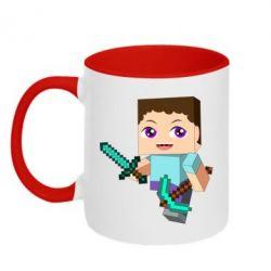 Кружка двухцветная 320ml Steve minecraft