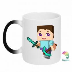 Кружка-хамелеон Steve minecraft