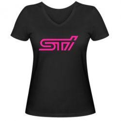 Женская футболка с V-образным вырезом STI Logo - FatLine