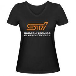 Женская футболка с V-образным вырезом STI - FatLine