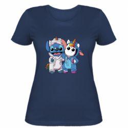 Женская футболка Стич и единорог