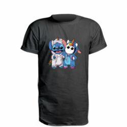 Удлиненная футболка Стич и единорог