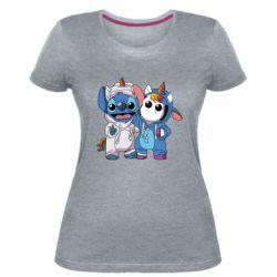 Женская стрейчевая футболка Стич и единорог