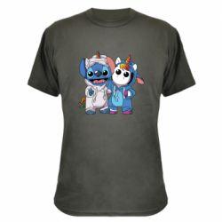 Камуфляжная футболка Стич и единорог