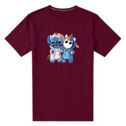 Мужская стрейчевая футболка Стич и единорог