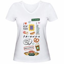 Жіноча футболка з V-подібним вирізом Sticker New York