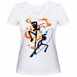Жіноча футболка з V-подібним вирізом Stickman