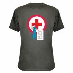 Камуфляжна футболка Stop virus and doctor