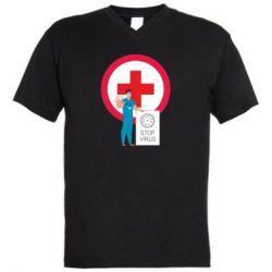 Чоловіча футболка з V-подібним вирізом Stop virus and doctor