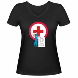 Жіноча футболка з V-подібним вирізом Stop virus and doctor