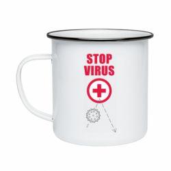 Кружка емальована Stop virus
