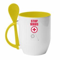 Кружка з керамічною ложкою Stop virus