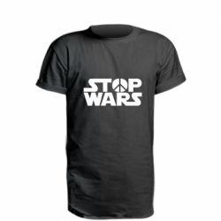 Удлиненная футболка Stop Wars peace