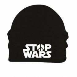 Шапка на флисе Stop Wars peace