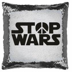 Подушка-хамелеон Stop Wars peace