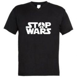 Мужская футболка  с V-образным вырезом Stop Wars peace