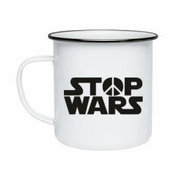 Кружка эмалированная Stop Wars peace