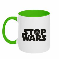 Кружка двухцветная 320ml Stop Wars peace