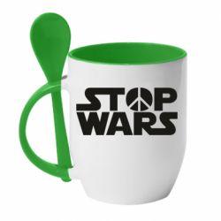 Кружка с керамической ложкой Stop Wars peace