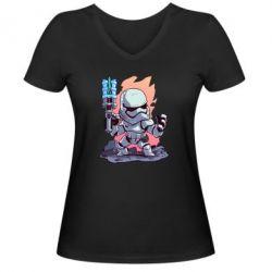 Жіноча футболка з V-подібним вирізом Stormtrooper chibi