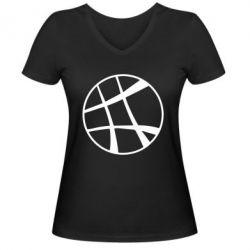 Женская футболка с V-образным вырезом Strange Logo