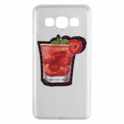 Чехол для Samsung A3 2015 Strawberry cocktail on a background of flowers