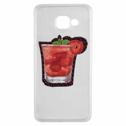 Чехол для Samsung A3 2016 Strawberry cocktail on a background of flowers