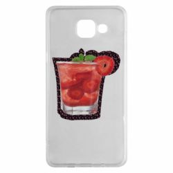 Чехол для Samsung A5 2016 Strawberry cocktail on a background of flowers