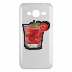Чехол для Samsung J3 2016 Strawberry cocktail on a background of flowers