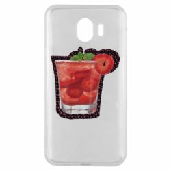 Чехол для Samsung J4 Strawberry cocktail on a background of flowers