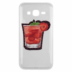 Чехол для Samsung J5 2015 Strawberry cocktail on a background of flowers