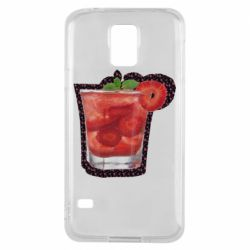 Чохол для Samsung S5 Strawberry cocktail on a background of flowers