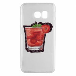 Чехол для Samsung S6 EDGE Strawberry cocktail on a background of flowers
