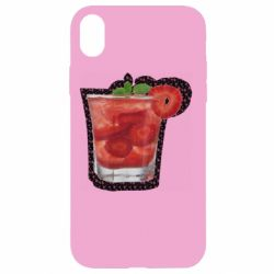Чохол для iPhone XR Strawberry cocktail on a background of flowers