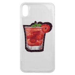 Чохол для iPhone Xs Max Strawberry cocktail on a background of flowers