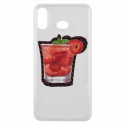 Чехол для Samsung A6s Strawberry cocktail on a background of flowers