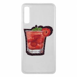 Чохол для Samsung A7 2018 Strawberry cocktail on a background of flowers
