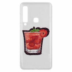 Чохол для Samsung A9 2018 Strawberry cocktail on a background of flowers