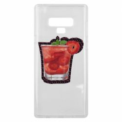 Чехол для Samsung Note 9 Strawberry cocktail on a background of flowers