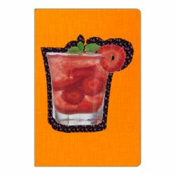 Блокнот А5 Strawberry cocktail on a background of flowers