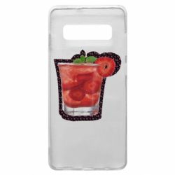 Чохол для Samsung S10+ Strawberry cocktail on a background of flowers